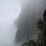Misty cliff face at Tianmen Mountain