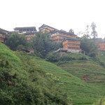 Tiantou village.  The wooden homes are built on some of the steepest parts of the mountainside, set in the rice terraces.