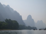 Taking a bamboo raft to Langshi, Guangxi