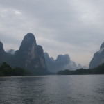 Misty karsk mountains in the morning, taken from the Li river.